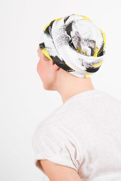 turban_chimiotherapie_elastique_jaune_blanc_1