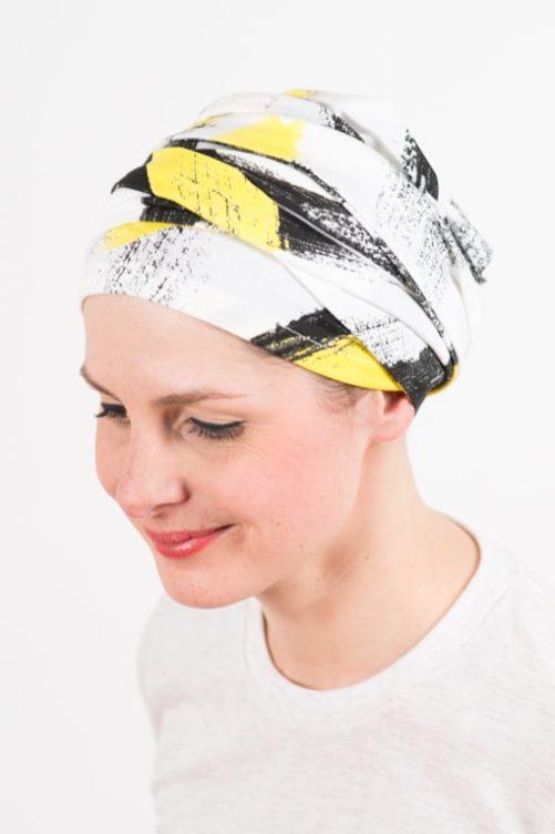turban_chimiotherapie_elastique_jaune_blanc_3