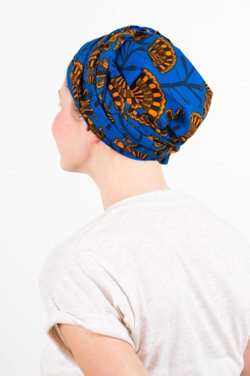 turban_chimiotherapie_coton_foudre_tissu_africain_wax_bleu_orange_1