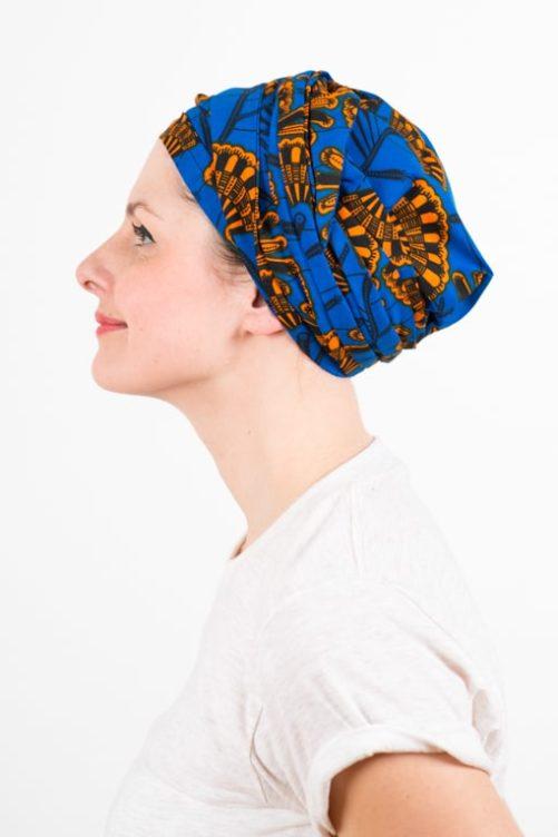 turban_chimiotherapie_coton_foudre_tissu_africain_wax_bleu_orange_2