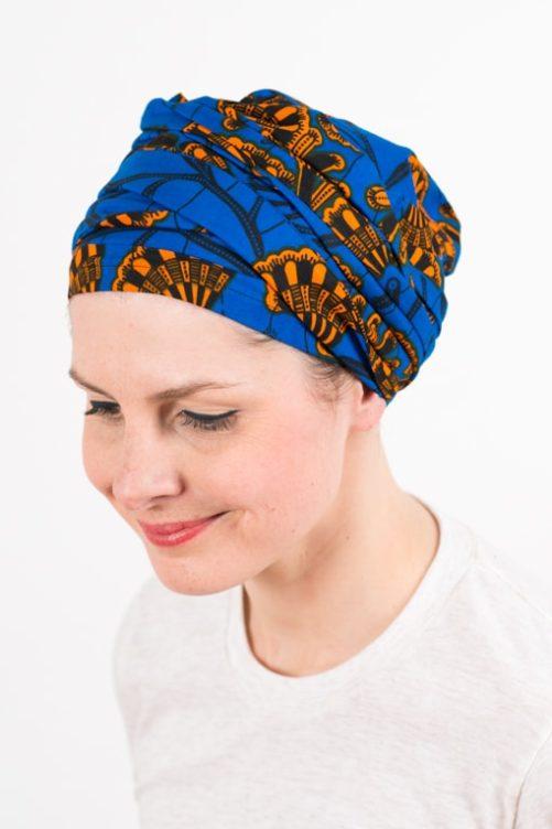 turban_chimiotherapie_coton_foudre_tissu_africain_wax_bleu_orange_3