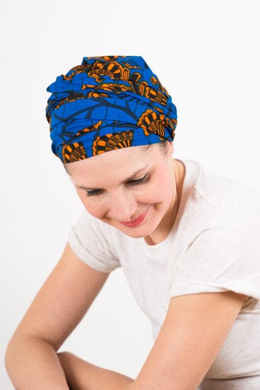 turban_chimiotherapie_coton_foudre_tissu_africain_wax_bleu_orange_4