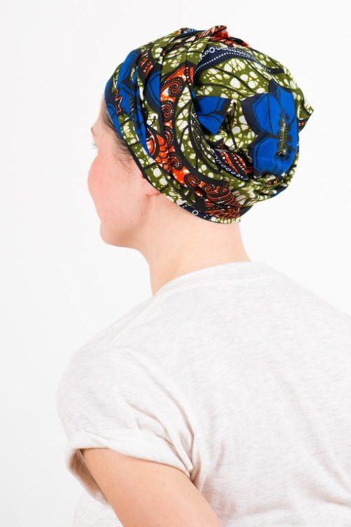 turban_chimiotherapie_coton_foudre_tissu_africain_wax_bleu_kaki_1