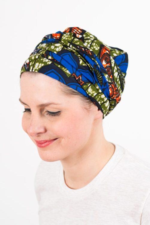 turban_chimiotherapie_coton_foudre_tissu_africain_wax_bleu_kaki_3