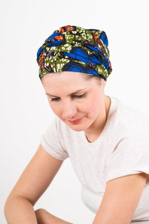 turban_chimiotherapie_coton_foudre_tissu_africain_wax_bleu_kaki_2