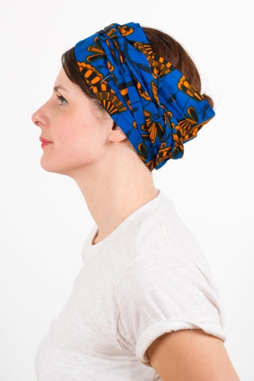 bandeau_a_cheveux_turbans_large_wax_bleu_orange_foudre