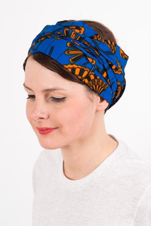 bandeau_a_cheveux_turbans_large_wax_bleu_orange_foudre_2
