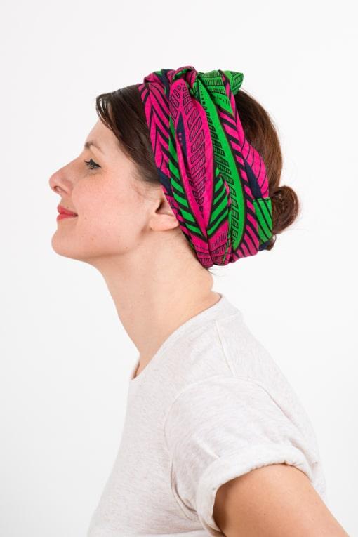 bandeau_a_cheveux_turbans_large_coton_wax_africain_rose_vert_foudre