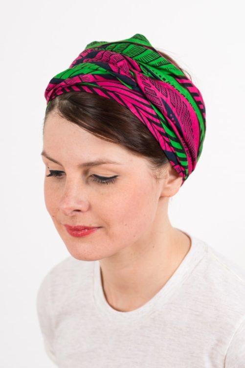 bandeau_a_cheveux_turbans_large_coton_wax_africain_rose_vert_foudre_2