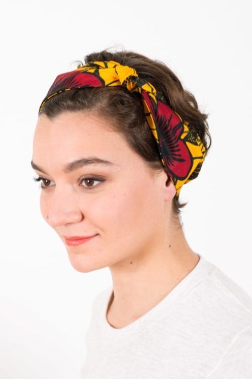 bandana_tissu_africain_wax_hibiscus_jaune_foudre