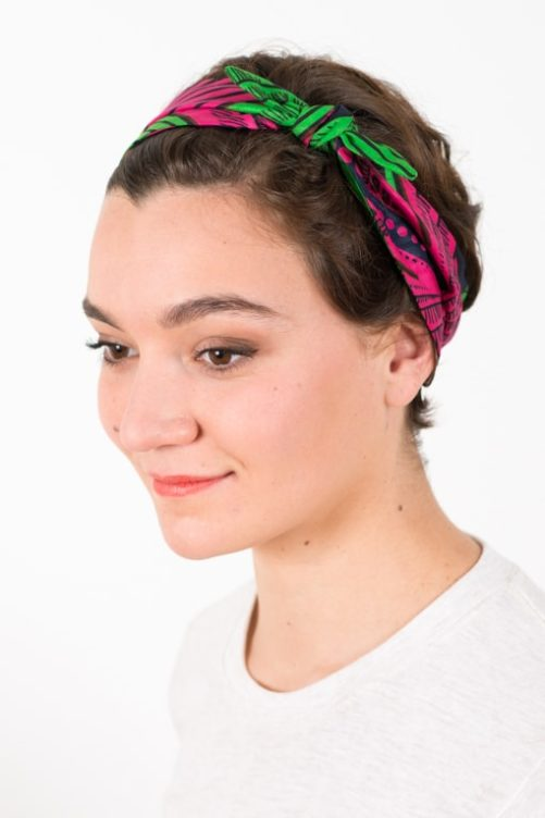 bandeau_a_cheveux_elastique_wax_africain_rose_vert_2