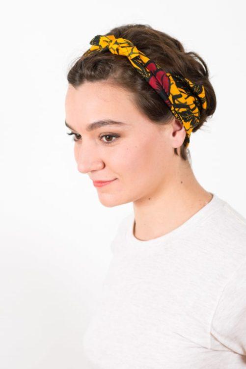 bandeau_a_cheveux_elastique_wax_africain_fleurs_jaune