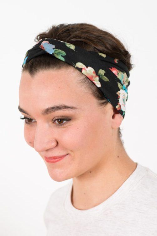 bandeau_a_cheveux_elastique_fleurs_noir