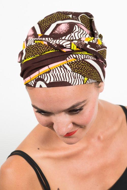 foudre_turban_bandeau_cheveux_tissu_africain_wax_rose_marron