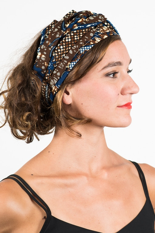 foudre_turban_bandeau_cheveux_tissu_africain_wax_oiseau_bleu_marron_4