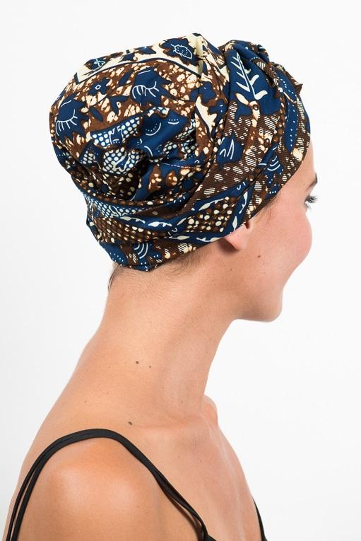 foudre_turban_bandeau_cheveux_tissu_africain_wax_oiseau_bleu_marron