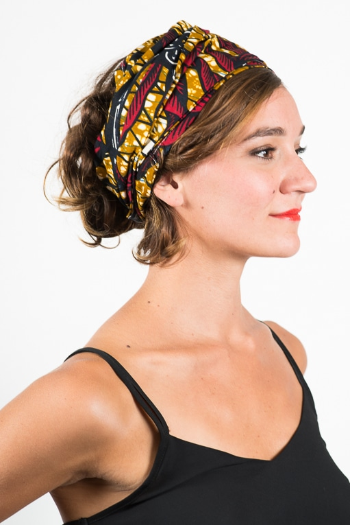 foudre_turban_bandeau_cheveux_tissu_africain_wax_feuille_rouge_jaune_2_5