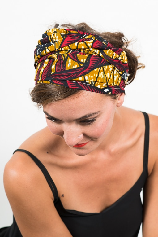 foudre_turban_bandeau_cheveux_tissu_africain_wax_feuille_rouge_jaune_4