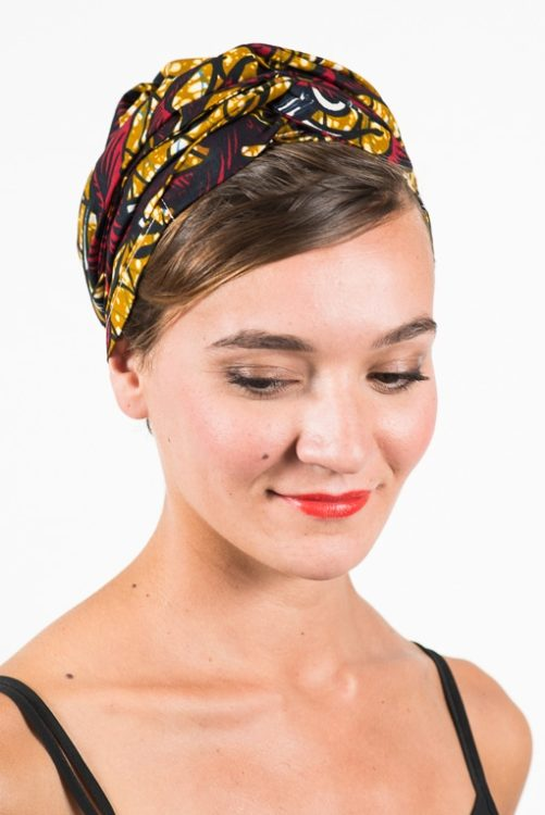 foudre_turban_bandeau_cheveux_tissu_africain_wax_feuille_rouge_jaune_2
