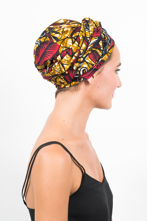 foudre_turban_bandeau_cheveux_tissu_africain_wax_feuille_rouge_jaune