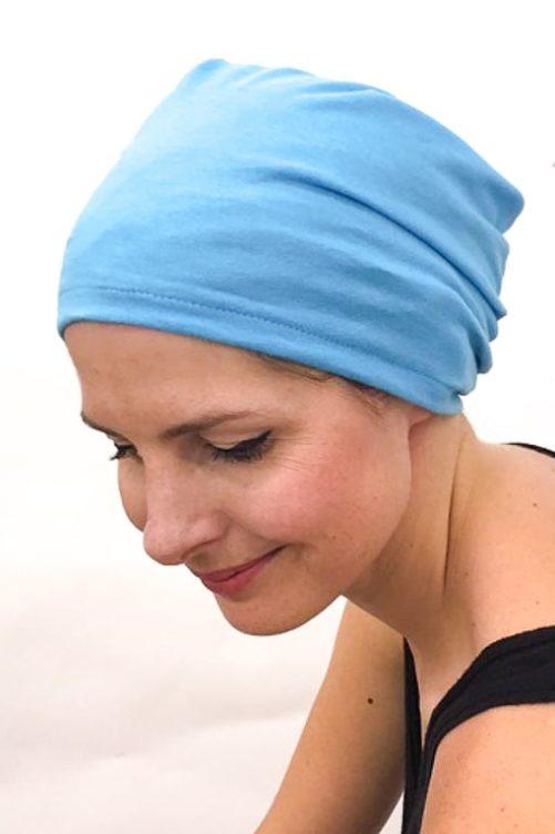 foudre_bonnet_nuit_chimiotherapie_pelade_alopecie_turquoise