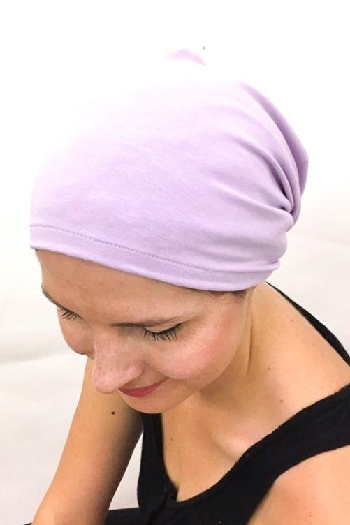 foudre_bonnet_nuit_chimiotherapie_pelade_alopecie_lilas