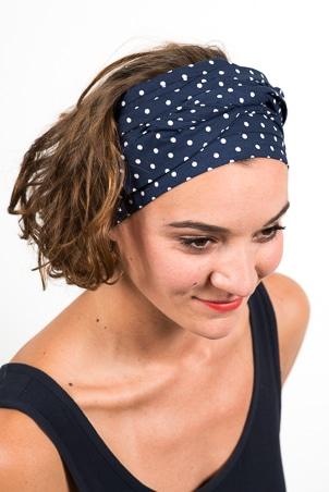bandeau_a_cheveux_turbans_large_coton_pois_bleu_blanc