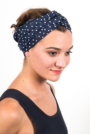 bandeau_a_cheveux_turbans_large_coton_pois_bleu