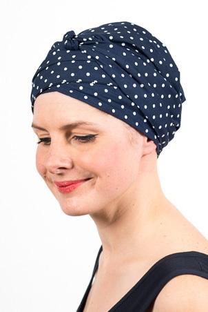 turban_chimiotherapie_elastique_pois_bleu_blanc