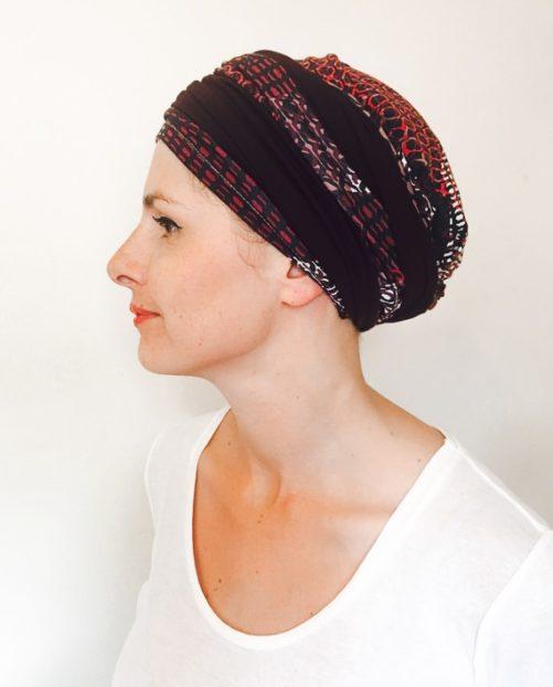 foudre_turbans_chimiotherapie_bandeau_elastique_bicolore_violet