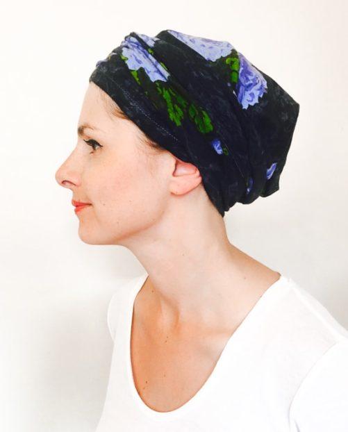 foudre_turbans_chimiotherapie_bandeau_elastique_fleurs_bleu_myosotis