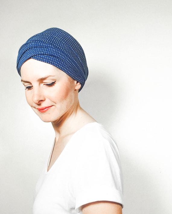 foudre_turbans_chimiotherapie_ensemble_volume_bandeaux_scratch_bleu_pointi