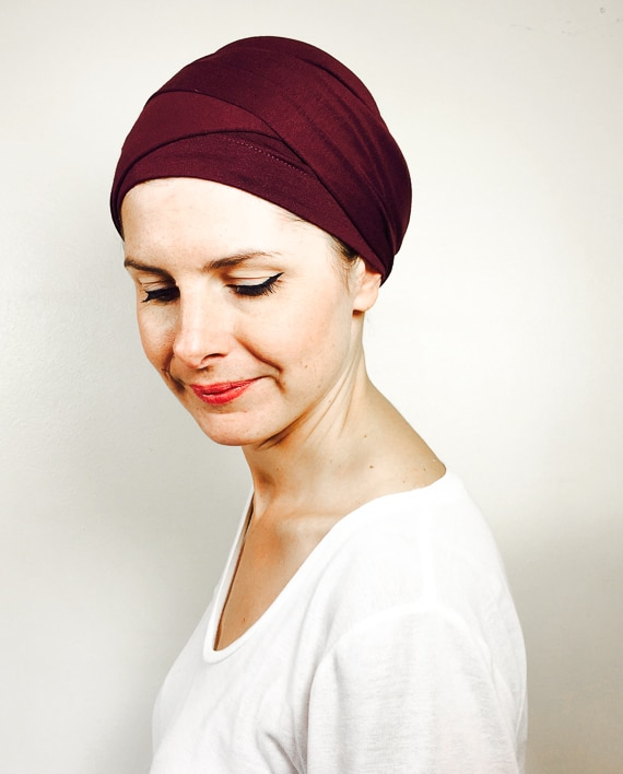 foudre_turbans_chimiotherapie_turban_enrouler_rouge_bordeaux