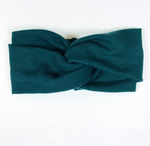 Bandeau à cheveux cache-oreille chaud en maille élastique vert