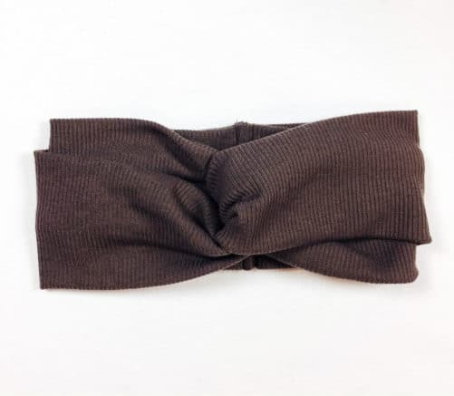 Bandeau à cheveux cache-oreille chaud en maille élastique marron