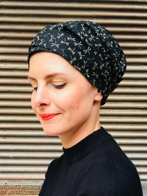 bandeau-large-chimiotherapie-pelade-coton-noir-foudre