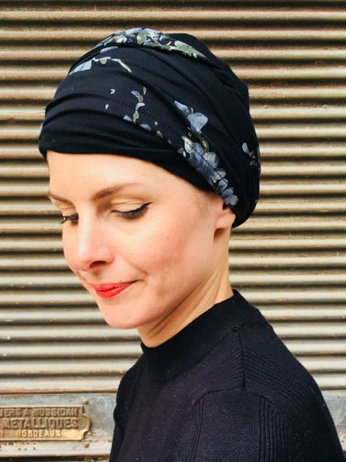 bandeaux-chimiothérapie-foudre-fleurs-noir-argente