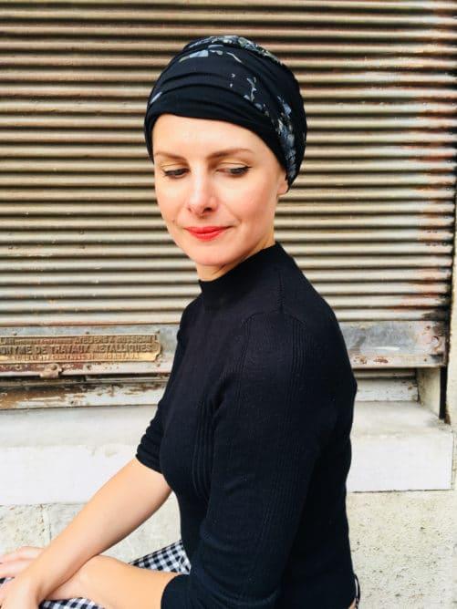 bandeaux-chimiothérapie-foudre-fleur-noir-argent