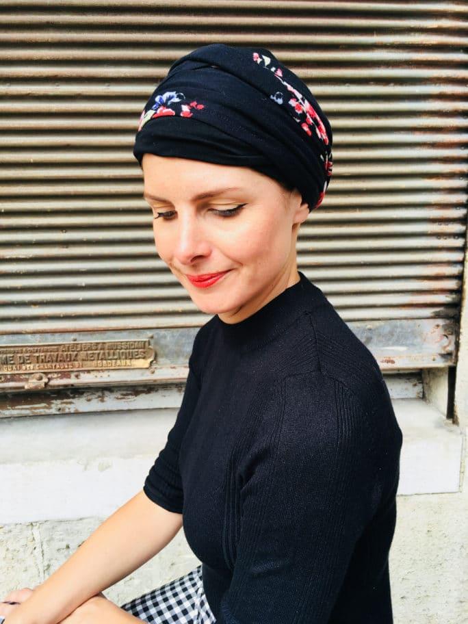 bandeaux-chimiothérapie-foudre-fleurs-noir