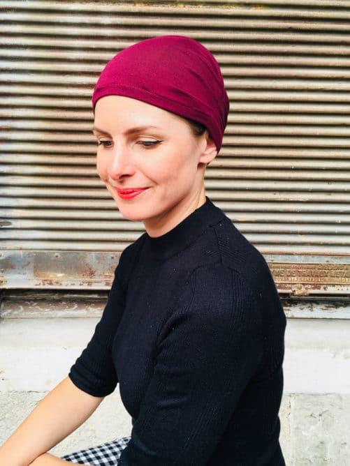bonnet-chimiotherapie-plis-rouge-bordeaux-foudre