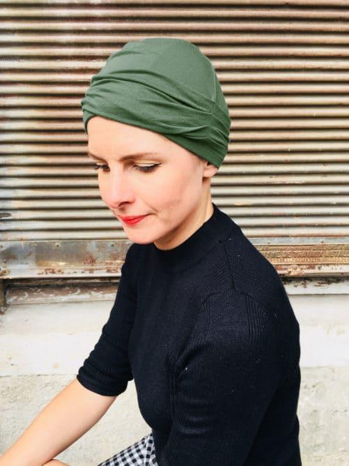 bonnet-chimiotherapie-plis-vert-kaki-foudre