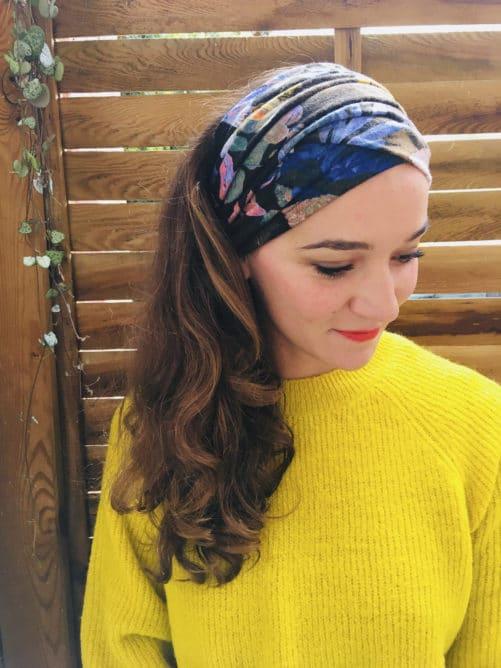 Bandeau à cheveux à scratch à fleurs bleu et noir de la marque Foudre