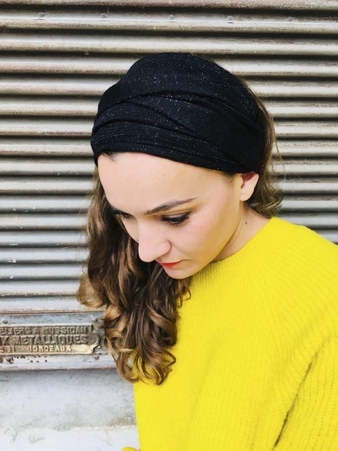 Bandeau à cheveux élastique noir scintillant de la marque Foudre