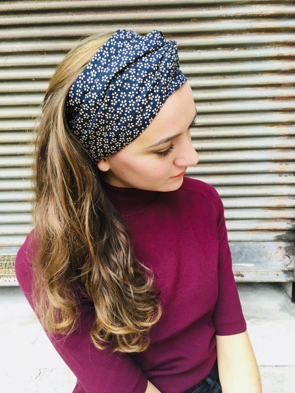 sensation de confort super pas cher se compare à nouvelle collection Bandeau à cheveux en coton japonais - Hanami marine
