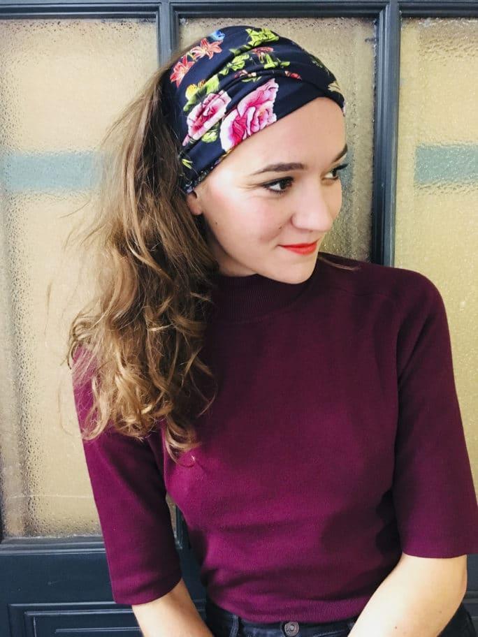 Bandeau à cheveux à scratch Foudre bleu marine à fleurs et colibri