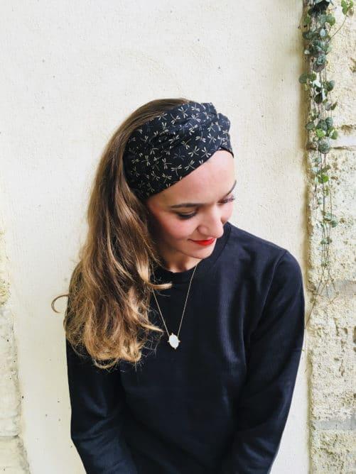 Bandeau à cheveux à nouer en coton imprimé Libellule de la marque Foudre