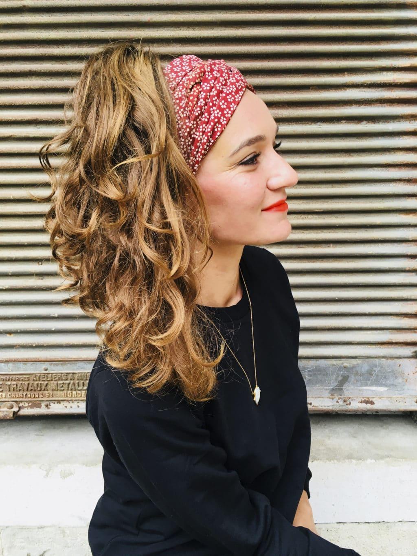 bandeau à cheveux en coton japonais – hanami rouge bordeaux – le