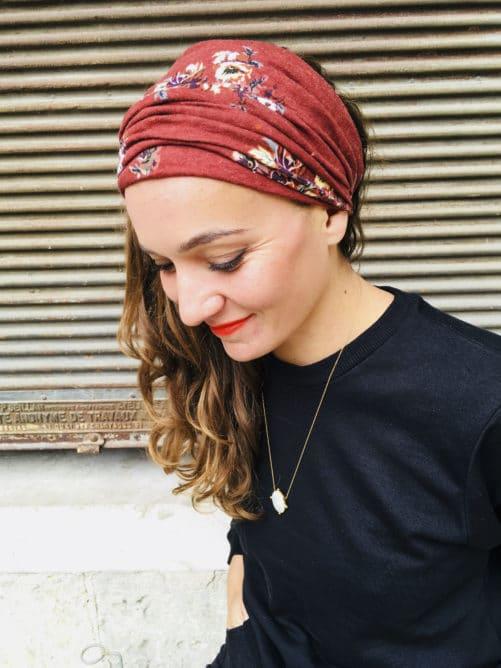 Bandeau à cheveux à scratch à fleurs marron de la marque Foudre