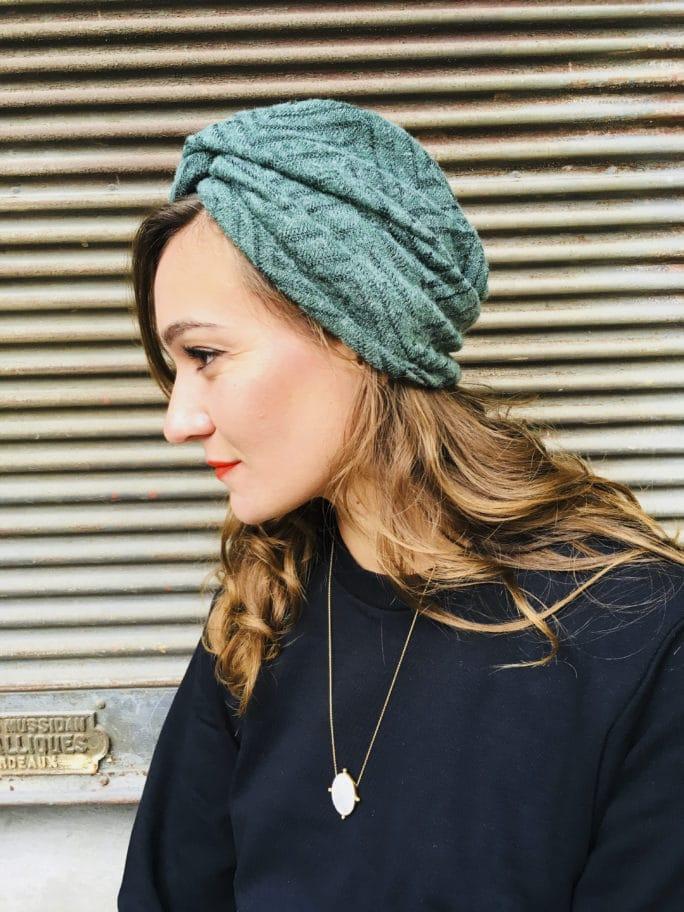 Bonnet chaud style vintage coloris vert de la marque Foudre
