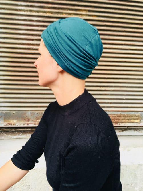 bonnet-chimiotherapie-plis-bleu-paon-foudre